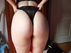 Sexy Tattoo Goth girl Wedgie and showing Bubble Butt