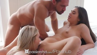 Passion-HD - Dude fucks friends Lucy Doll and Peyton Coast in threesome  hd blowjob blonde peyton-coast hardcore passion-hd brunette 3some lucy-doll shaved tight fingering threesome orgasm facial