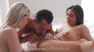 Passion-HD - Dude fucks friends Lucy Doll and Peyton Coast in threesome  hd blowjob blonde hardcore passion-hd brunette 3some lucy-doll shaved tight fingering threesome orgasm facial peyton-coast