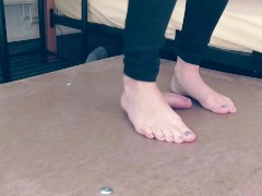 First Cockcrush then barefeet and balerina footjob with cumshot