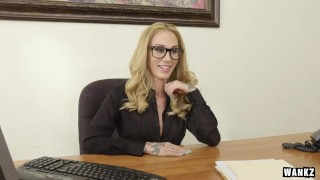Horny MILF Boss Sarah Exploits Her Employee for Sex  glasses big-tits suck sucking blowjob mom blonde tattoo boss milf office reality 60fps wankz mother big-dick stockings sarah-jessie tits-fucking