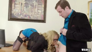 Horny MILF Boss Sarah Exploits Her Employee for Sex  glasses big-tits suck sucking mom blowjob blonde tattoo boss milf office reality 60fps wankz mother big-dick stockings sarah-jessie tits-fucking