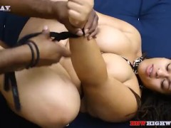 thick redbone gets spanked, hogtied and fucked