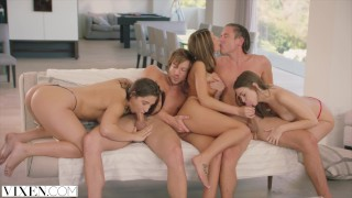 VIXEN Riley Reid, August Ames and Abella Danger's Day Out  riding creampie squirt pussy-licking vixen blowjob squirting brunette cowgirl reverse-cowgirl groupsex orgasm doggystyle facial group
