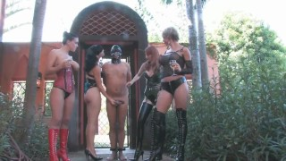 4 Mistress Humiliate Slave while drinking champagne CBT Femdom  public-humiliation cbt outside cock-torture femdom public kink humiliate domina sklave mistress group-femdom 4-mistress-1-slave 4-herrin dick-slap