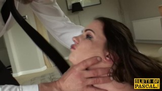 Spanked brit sub Tasha Holtz pounded roughly sub spanking heels big-natural-tits tongue-piercing pornstar bdsm tattoo big-boobs rough-sex pascalssubsluts reality fetish maledom doggystyle