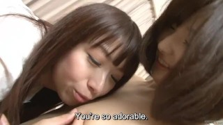 Subtitled Japanese lesbian kissing and licking foreplay HD
