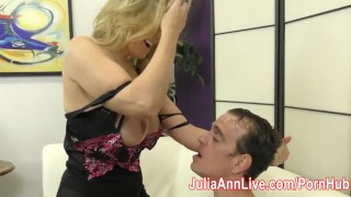 Preview 5 of Milf Julia Ann Makes Slave Cum on Her Stockings from FootJob!