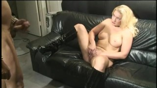 Raunchy blonde slut lets a horny stud cum on her latex boots  spanking babe strapon shaved-pussy dildo femdom blonde blowjob sex-toys hardcore natural-tits latex fingering deepthroat anal