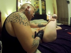 Punk, tattooed, amputee girl Fingered Rough With Glove til Squirting Orgasm