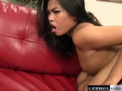 Tiny Asian Cindy gets her pussy pounded by a hard dick