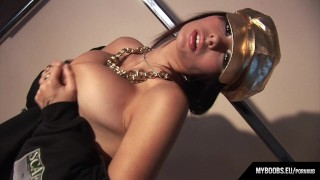 Busty star Dominno in HipHop style striptease and masturbate
