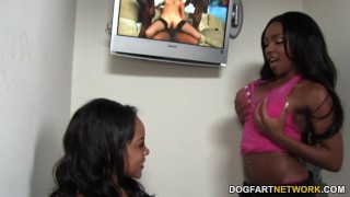 Persia Black and Lola Hart Share Gloryhole Cock ebony 3some hardcore glory-hole black kink blowjob gloryhole ffm deepthroat threesome big-boobs big-tits interracial dogfartnetwork