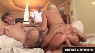 Blonde wife fucks 2 guys and great facial  hardcore couples 3some threesome housewife darcy-tyler cuckold wife dothewife blonde