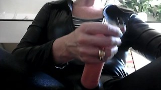 Strapon stroking and cigarette smoking for subs to learn how to do it!  piercing milf-pov smoking-fetish domme short-hair latina adult-toys strapon redhead tattoo roleplay masturbate