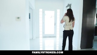 FamilyStrokes - Horny Pretty Stepdaughter Sucks Dick To Skip School  big-cock blowjob cumshot step-daughter cum-on-tits hardcore katya-rodriguez natural-tits brunette familystrokes latina step-father shaved old-young step-dad latin teenager puerto-rican