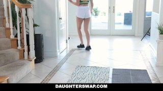 DaughterSwap - Helping our Daughters To Stretch Out & Fuck asian orgy cum-on-tits kara-faux dad yoga shaved cumshot group-sex daughterswap foursome small-tits brunette audrey-royal daughter bigcock group