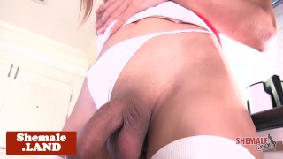Stockinged ladyboy tugging in solo session  nurse masturbating ladyboy asian solo wanking tugging tgirl closeup thong shaved uniform stockings shemale shemalexxx