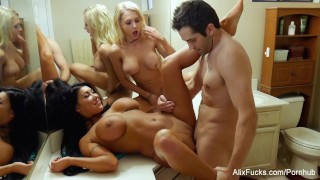 Alix and August fuck their plumber after he fixes their shower  babe big-tits 3way threeway blonde pornstar cumshot big-boobs fake-tits hardcore brunette 3some threesome alixfucks puba alixlynx