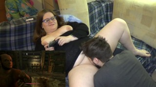 chubby nerd gamer-girl letsplay skyrim geek-girl girl-with-glasses fat-girl real-orgasm cunnilingus long tattoo bearded-guy very-hard-orgasm