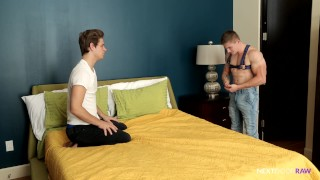 NextDoorRaw Jake Davis Barebacked by Str8 Roomie  bareback anal-sex gay ass-fuck hunk ass-fucking raw anal buttfucking harness barebacking nextdoor nextdoorraw leather next-door