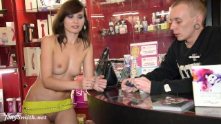 Jeny Smith - naked sales girl meet customers in a sex shop  foot-fetish flashing upskirt long-legs public round-ass exhibitionist kink butt bubble-butt high-heels no-panties flasher jenysmith shop bottomless