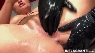 Fisting the sexy German cuckold Milf  lingerie shaved-pussy cuckold wife mom fetish milf fisting striptease german big-natural-tits mother stockings high-heels inflagranti fucking-machine